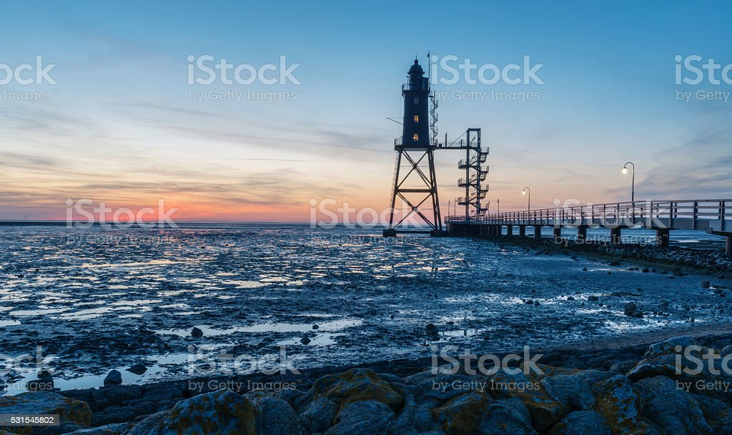 Lighthouse in the North Sea stock photo