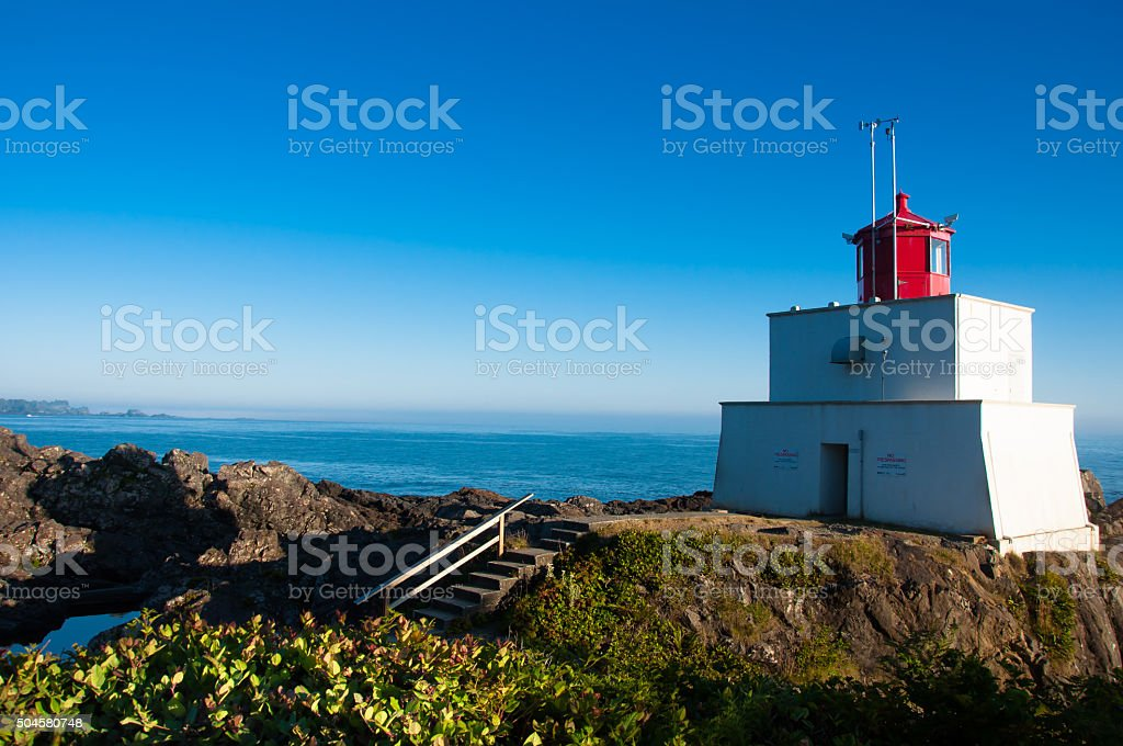 lighthouse in Ucluelet BC stock photo