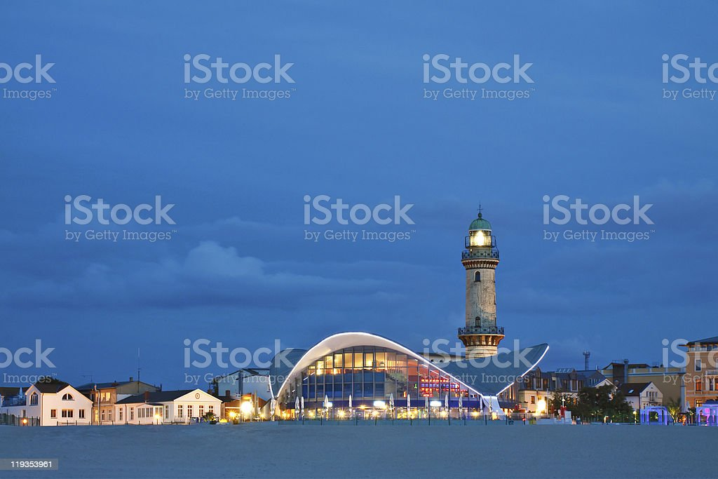 Lighthouse in Warnemuende (Baltic Sea) royalty-free stock photo