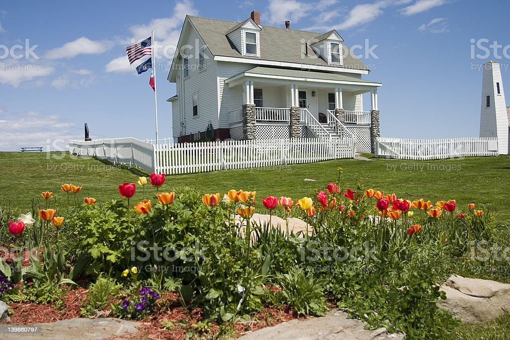 Lighthouse Keepers House-Pemaquid Point ME royalty-free stock photo