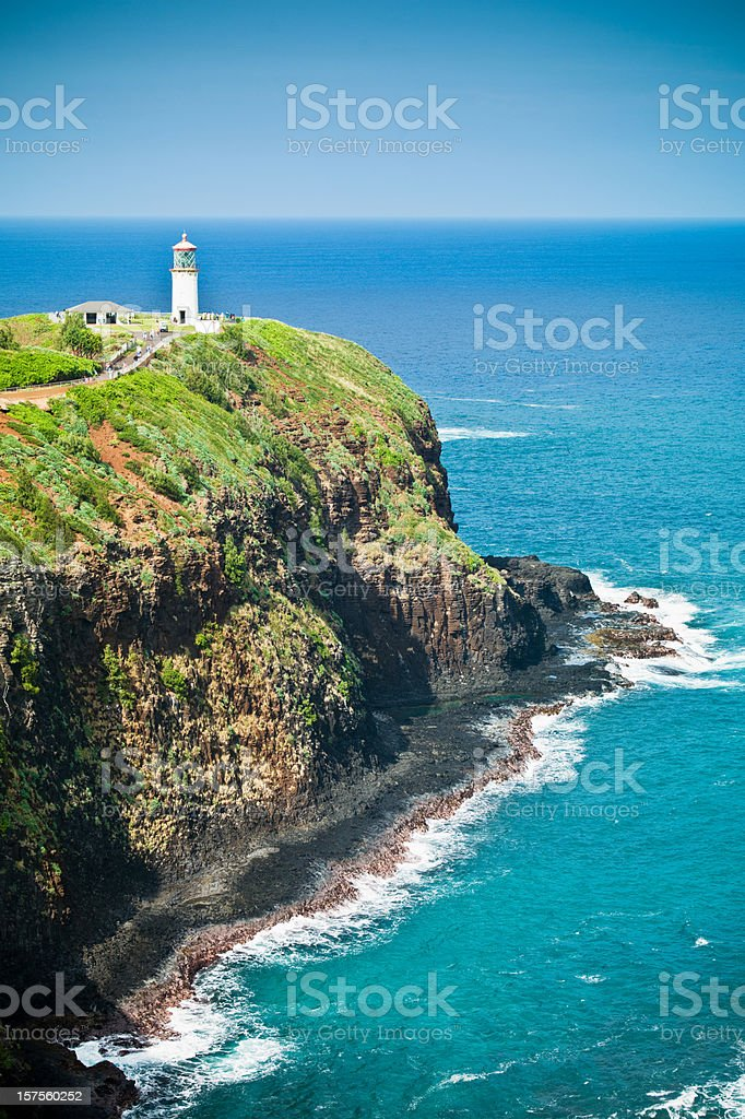 Lighthouse Kilauea Kauai Island, Hawaii stock photo