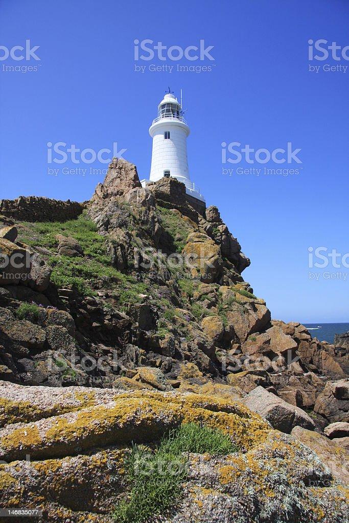Lighthouse, La Corbiere, Jersey stock photo