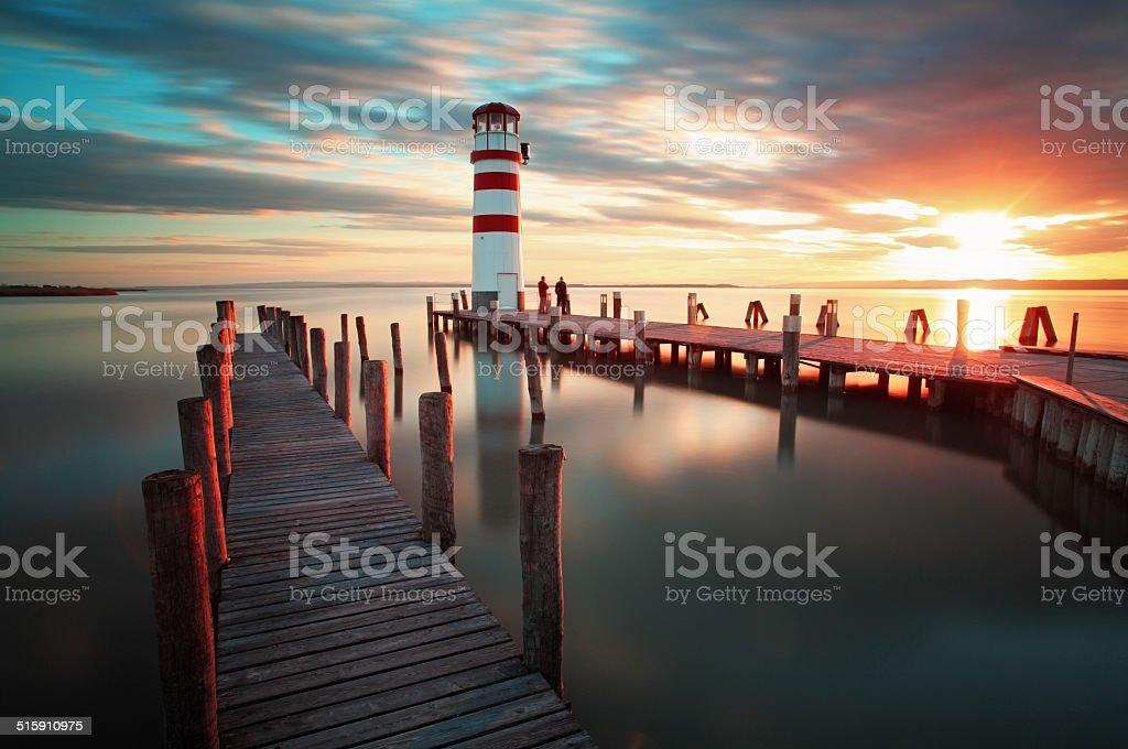 Lighthouse - Lake in Austria stock photo