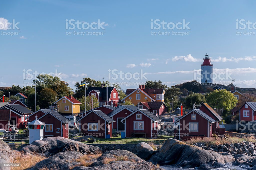 Lighthouse, Landsort fishing village, Sweden stock photo