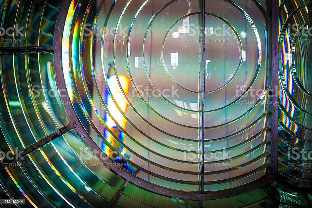 Lighthouse lens stock photo