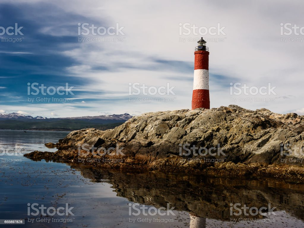 Lighthouse Les eclaireurs in Beagle Channel near Ushuaia stock photo