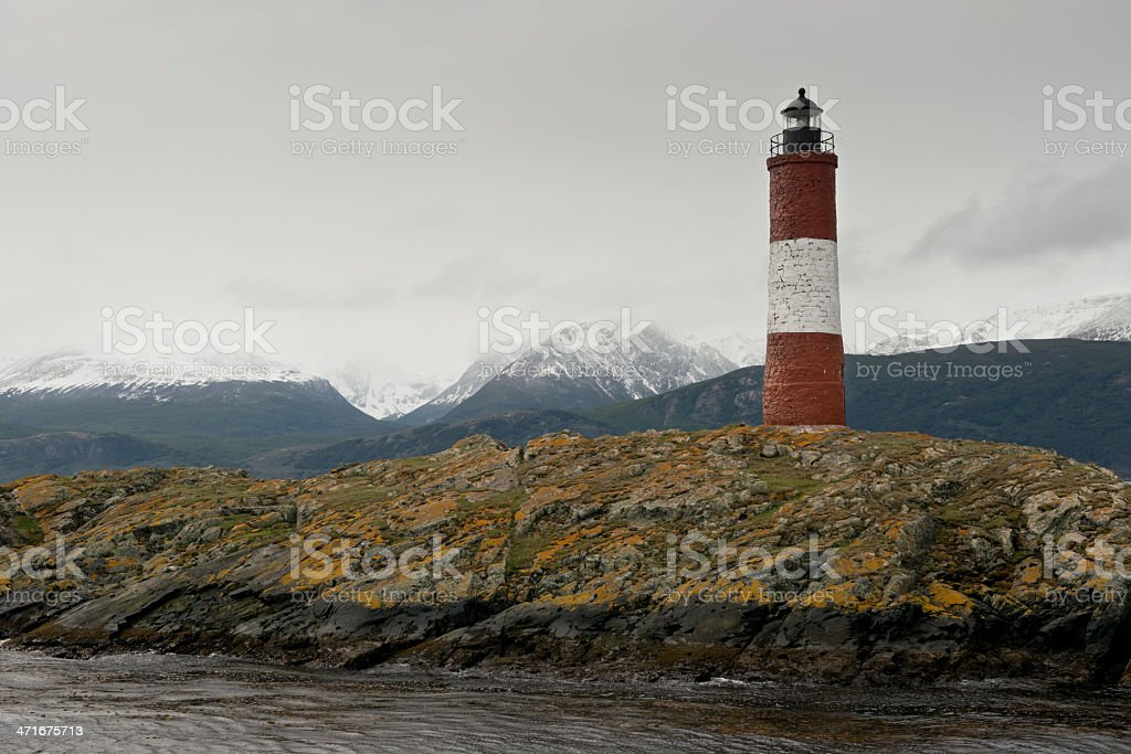 Lighthouse Les Eclaireurs on the Beagle Channel royalty-free stock photo
