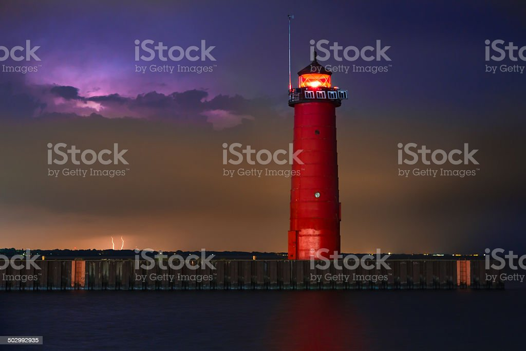 Lighthouse Lightning stock photo