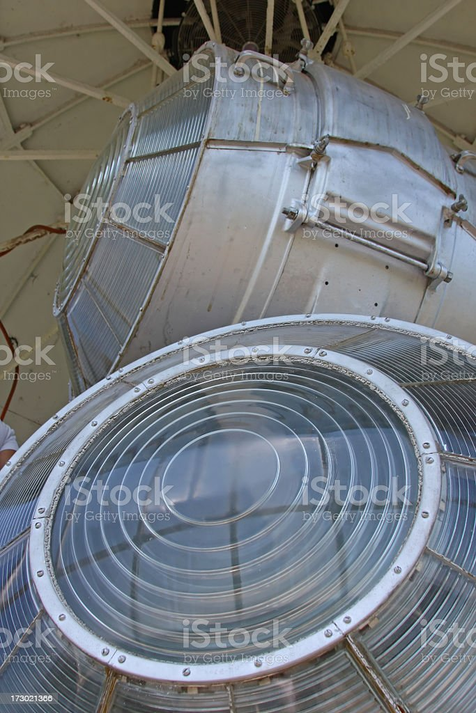 Lighthouse Lights- Lighting equipment of a lighthouse in Virginia, USA stock photo