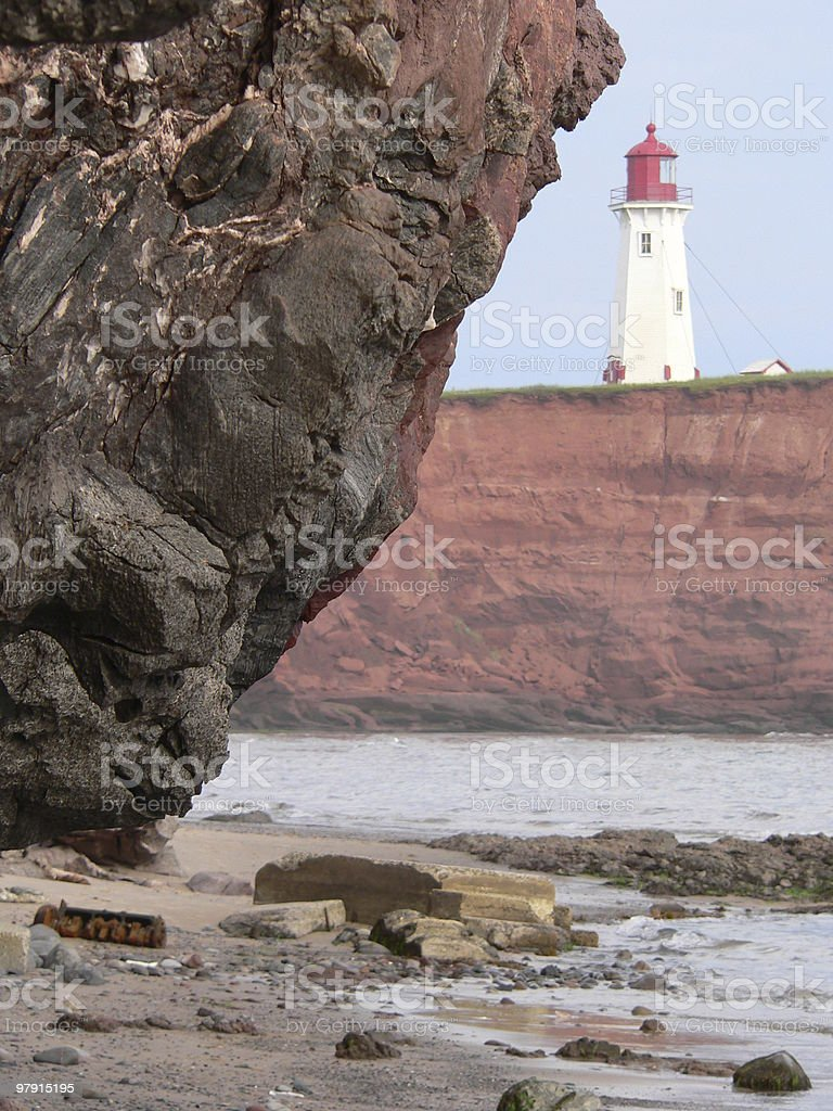 Lighthouse, Magdalen Islands royalty-free stock photo