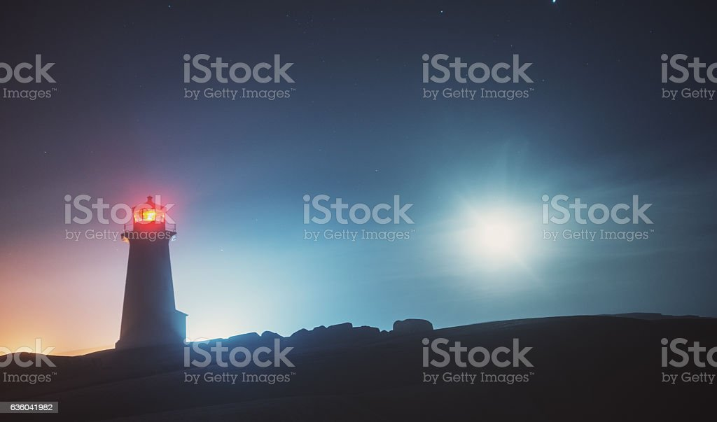 Lighthouse Moonscape stock photo