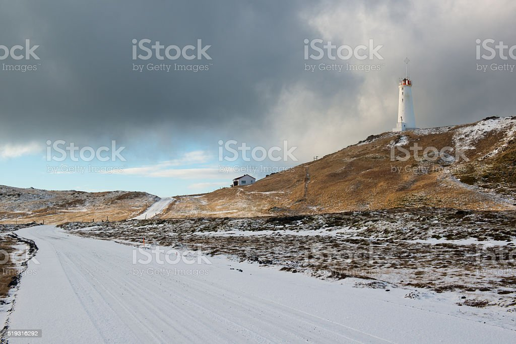 Lighthouse near geothermal area Gunnuhver at winter, Reykjanes Peninsula, Iceland stock photo