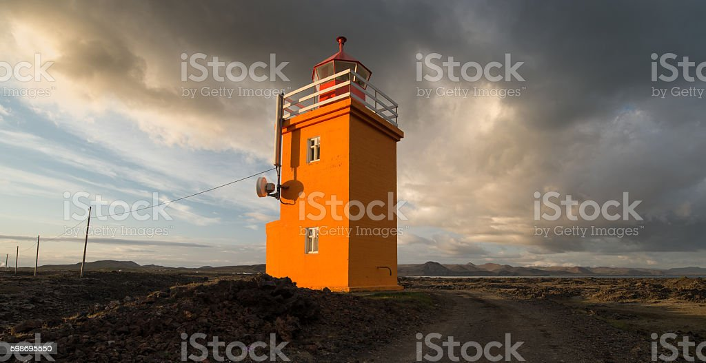 Lighthouse near Grindavik, Iceland stock photo