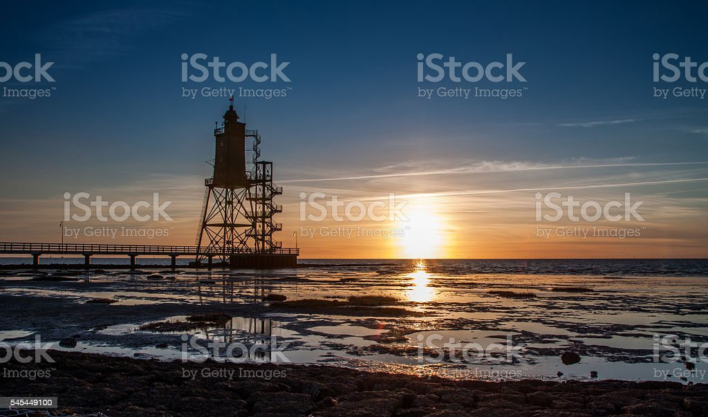 Lighthouse Obereversand, Dorum, Germany stock photo