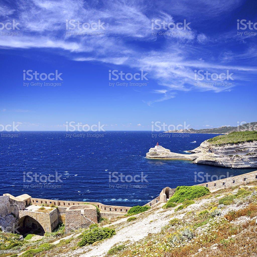 Lighthouse of Bonifacio stock photo