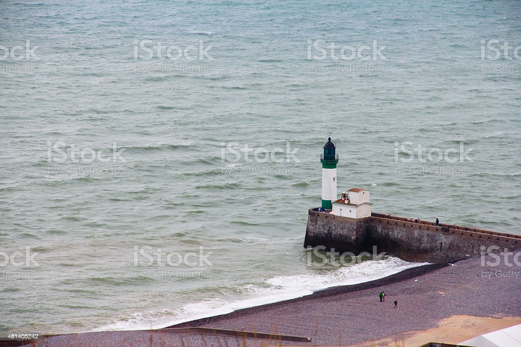 Lighthouse of Fort Mahon Plage stock photo