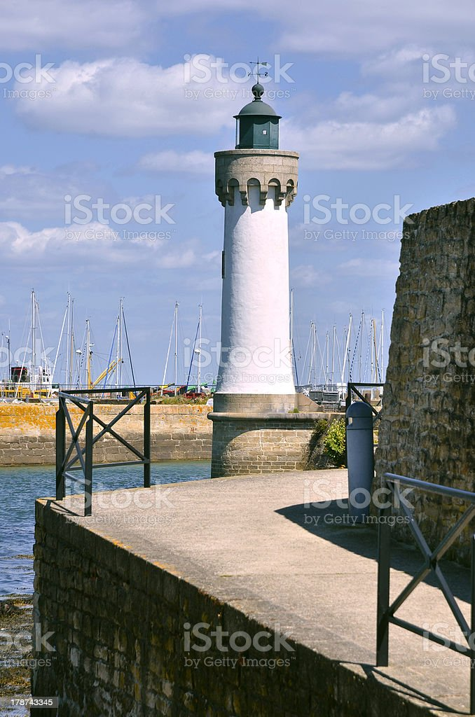 Lighthouse of Haliguen port at Quiberon in France royalty-free stock photo