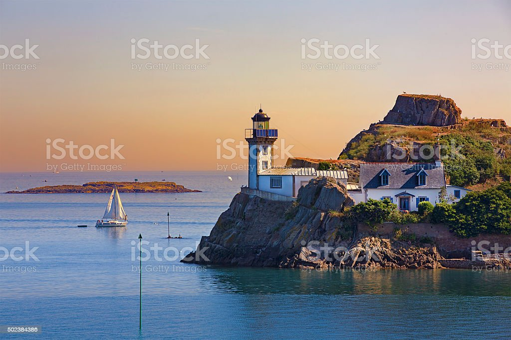 Lighthouse of L'Ile Louet, Brittany stock photo