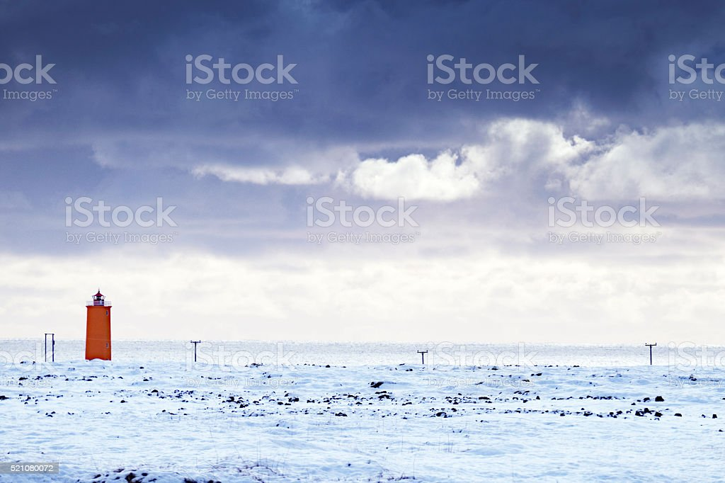 Lighthouse of Litlagata Cape in southern Iceland stock photo