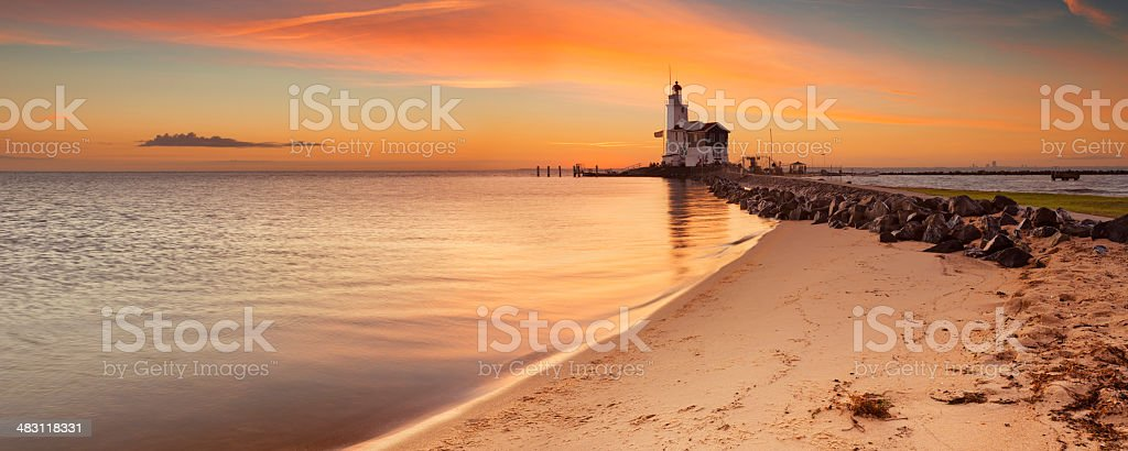 Lighthouse of Marken in The Netherlands at sunrise royalty-free stock photo