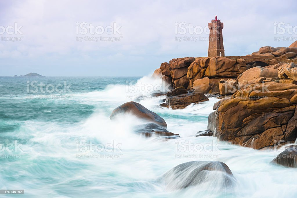Phare de Men Ruz, Bretagne stock photo