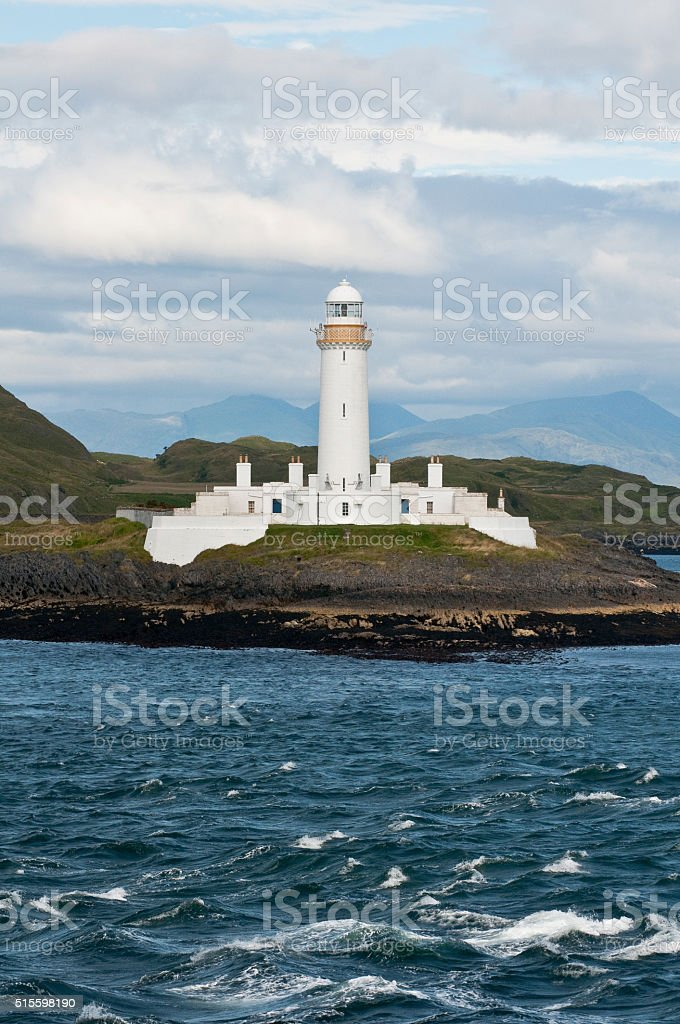 Lighthouse of Scotland seen from a boat stock photo