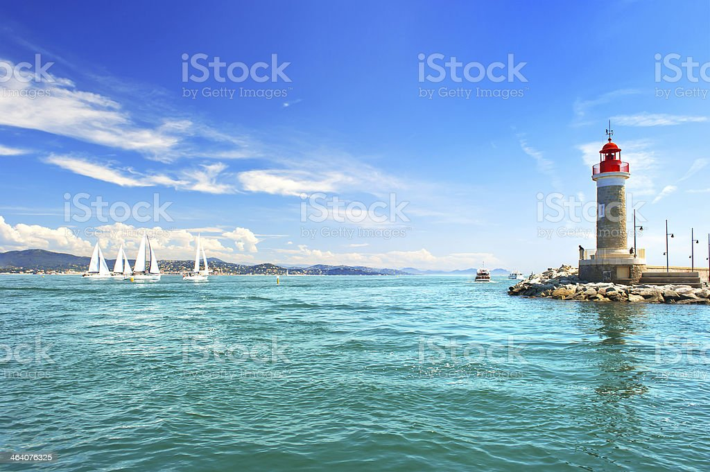 Lighthouse of St. Tropez. beautiful mediterranean landscape stock photo