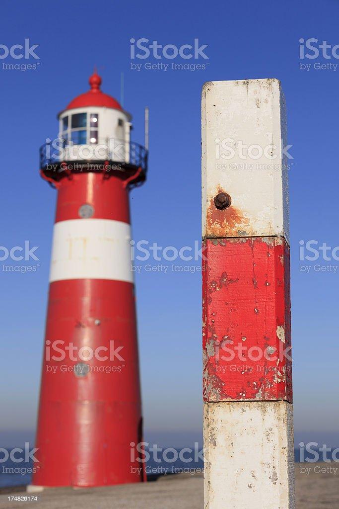 lighthouse of Westkapelle along the Dutch coast royalty-free stock photo