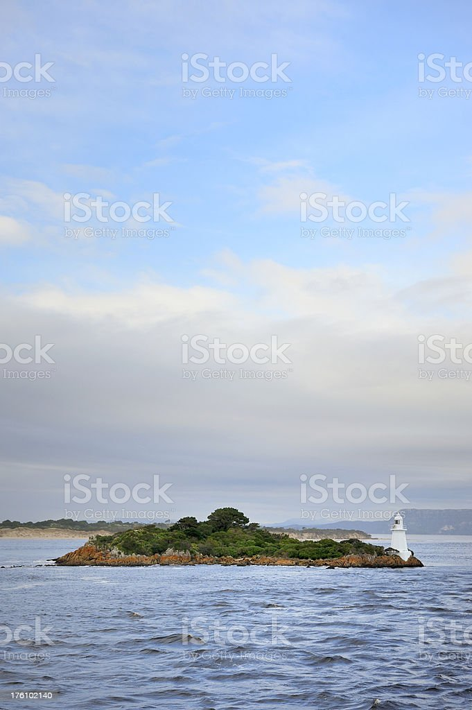 Lighthouse on a island stock photo