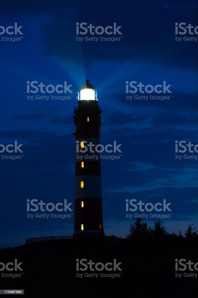Lighthouse on Amrum in the night stock photo