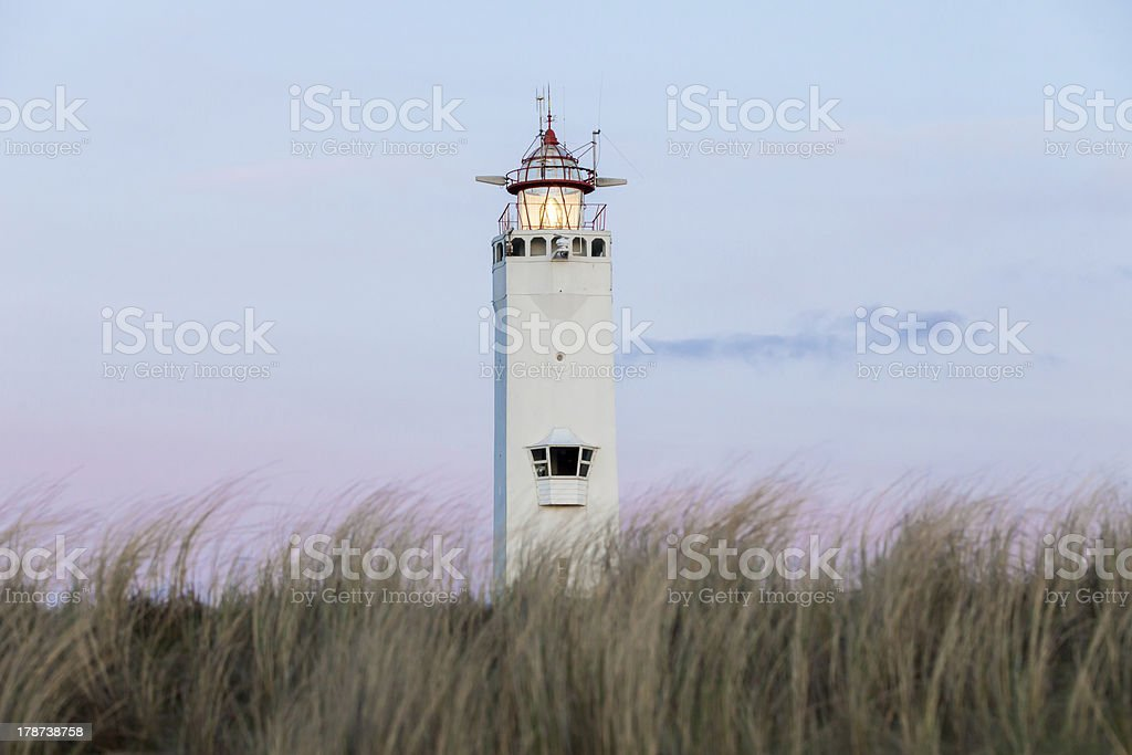 Lighthouse on beach, Netherlands royalty-free stock photo