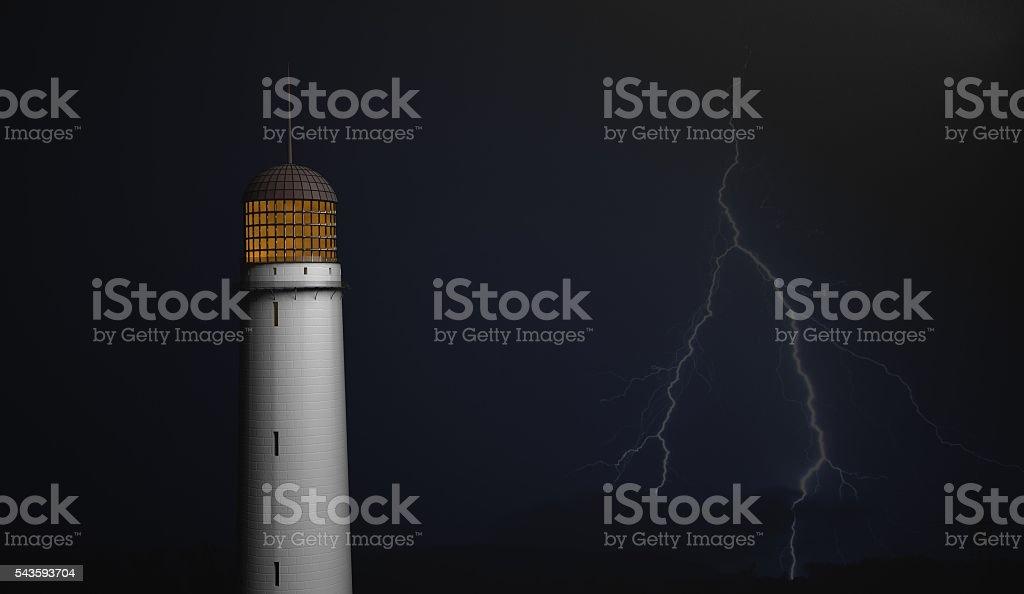 lighthouse on black with lighting bolt 3d illustration stock photo