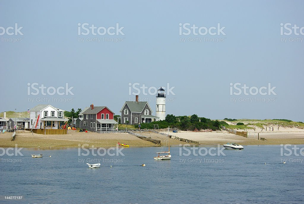Lighthouse on Cape Cod bay, Massachusetts royalty-free stock photo