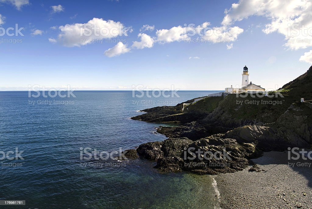 Lighthouse on Cliffs with Beach and sea stock photo