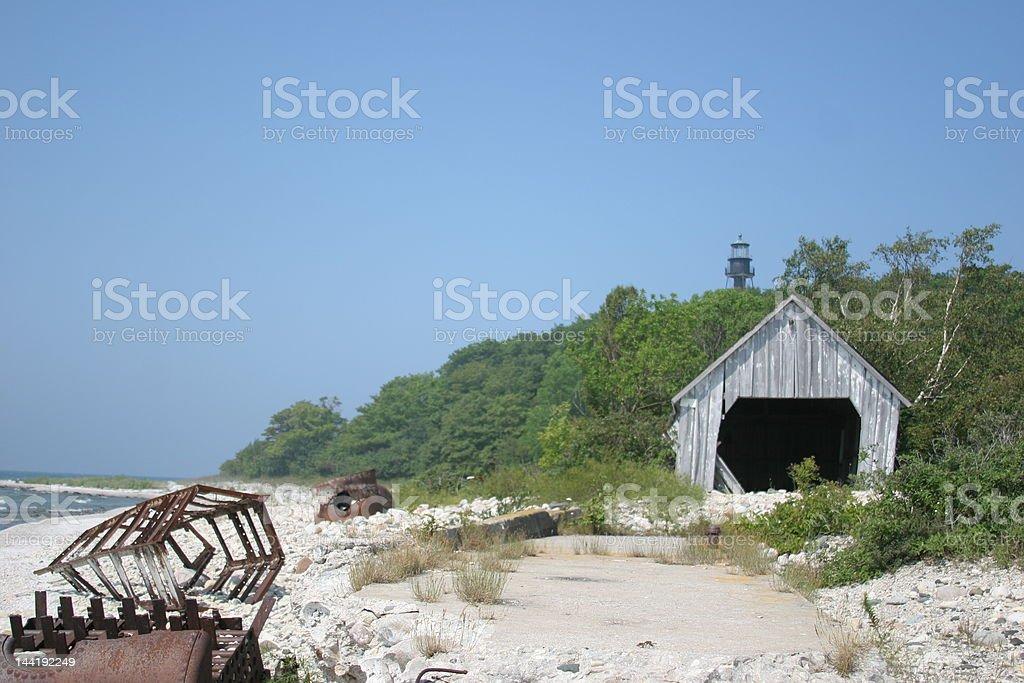 Lighthouse on Fox Island stock photo