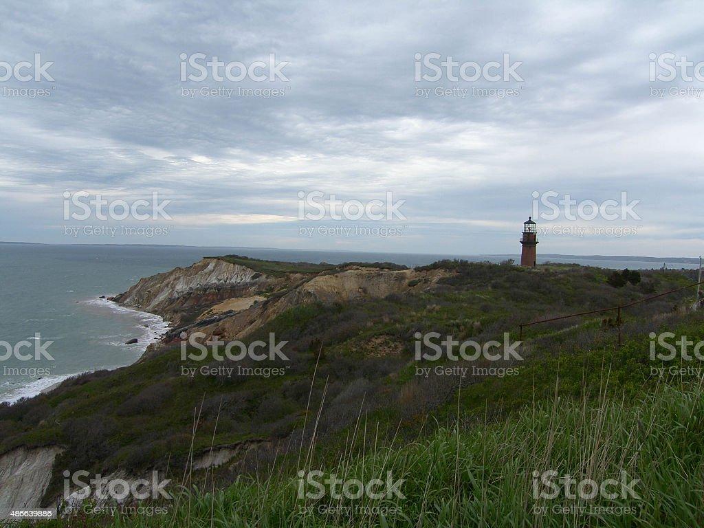 Lighthouse on Martha's Vineyard stock photo