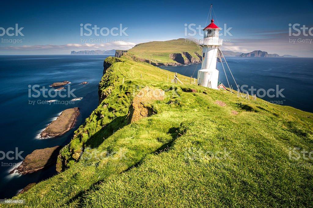 Lighthouse on Mykines, Faroe islands stock photo