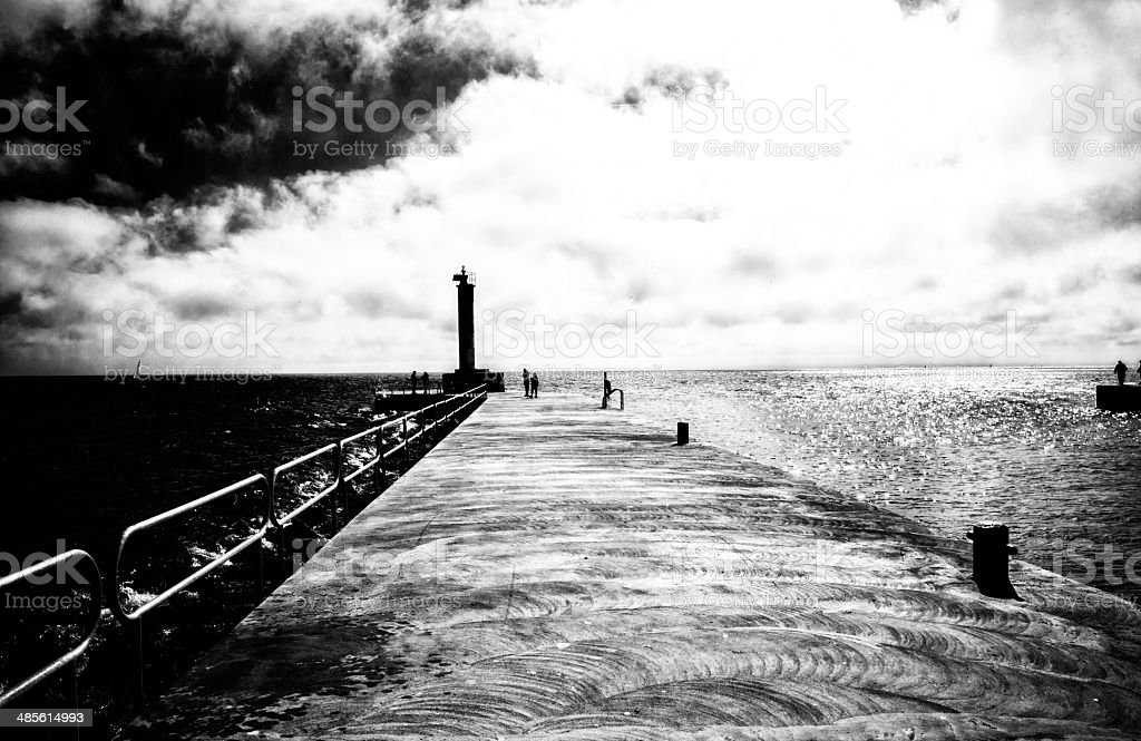 lighthouse on ontario lake royalty-free stock photo