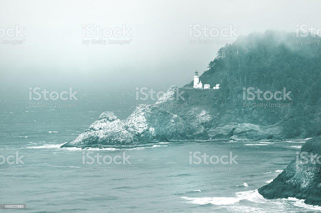 Lighthouse on Oregon Coast stock photo