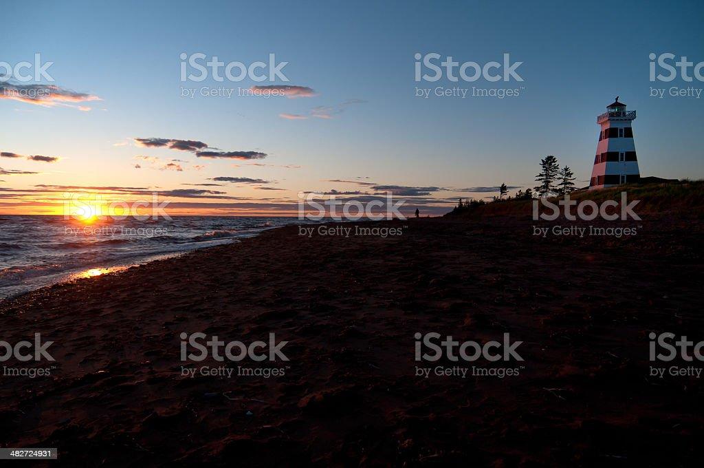 Lighthouse on PEI at Sunset stock photo