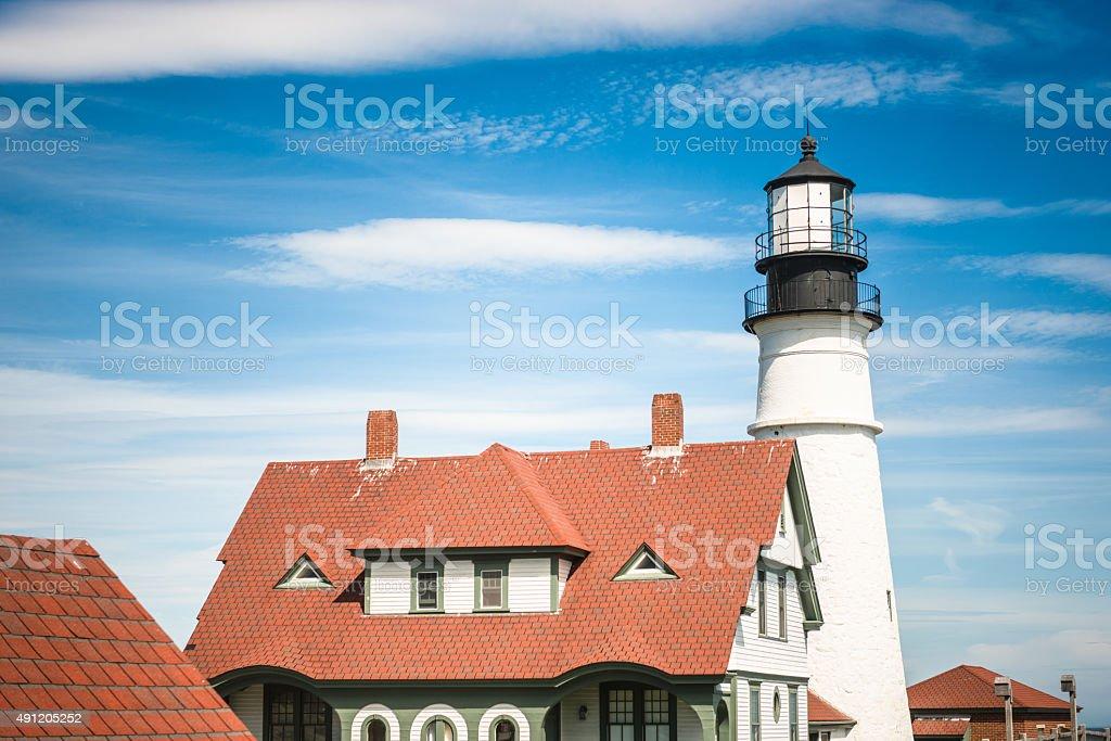 lighthouse on Portland - maine stock photo