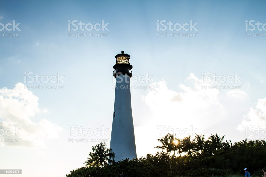 Lighthouse on sunset at the Florida State Park, Key Biscayne stock photo
