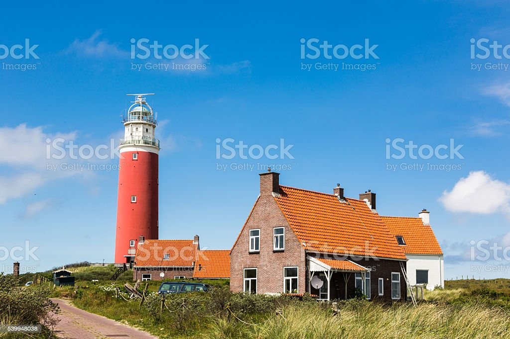 Lighthouse on Texel island stock photo