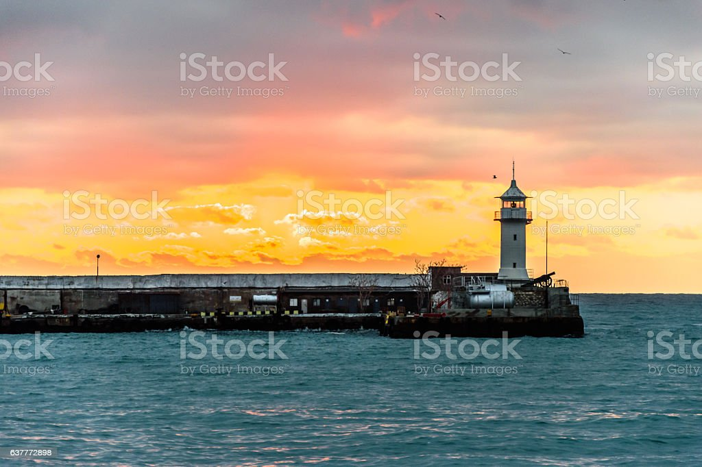 Lighthouse on the Black Sea. Yalta, Crimea. stock photo