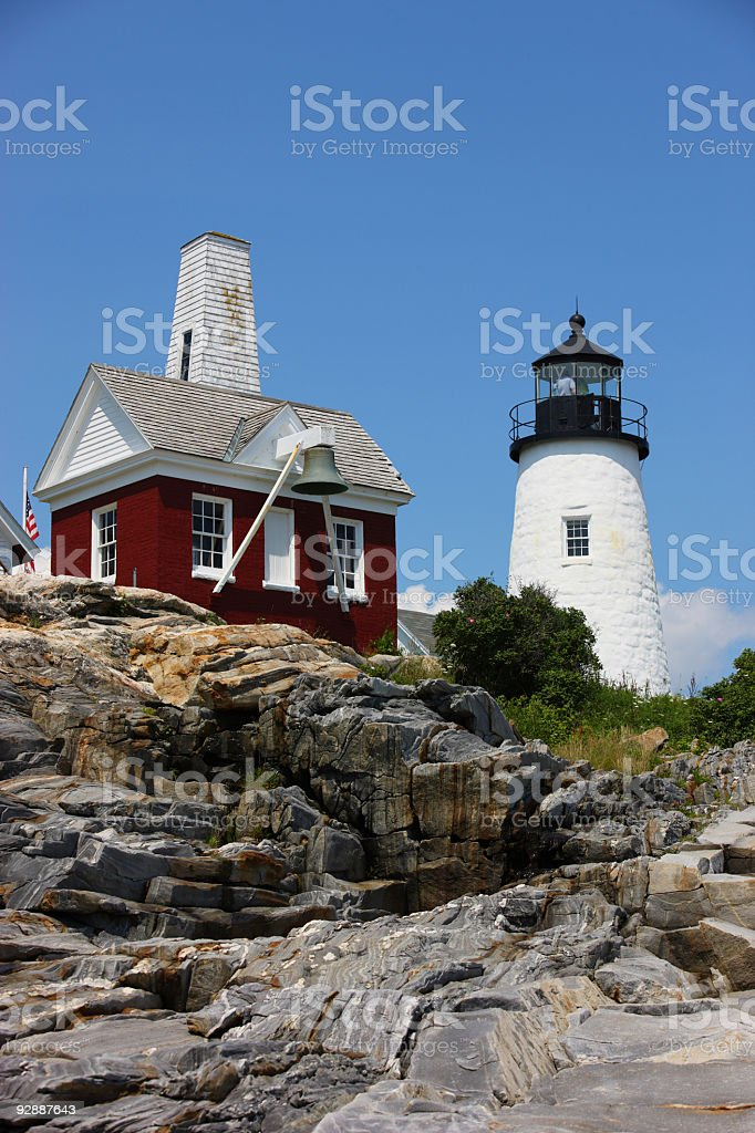Lighthouse on the cliff, Pemaquid point, Maine USA stock photo