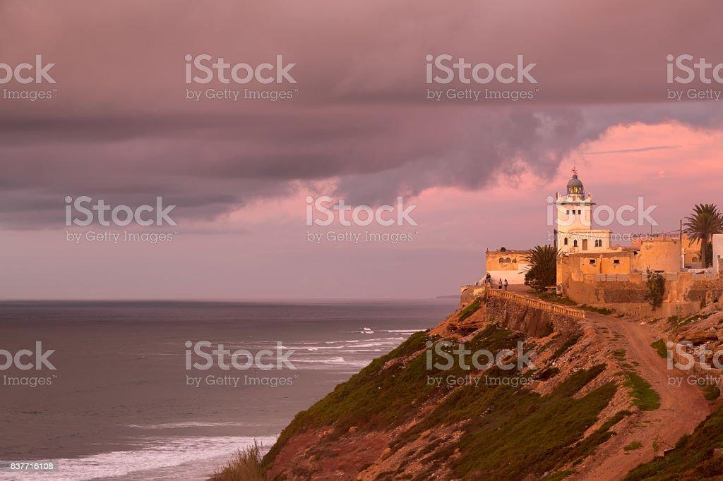 Lighthouse on the coast of Sidi Ifni stock photo