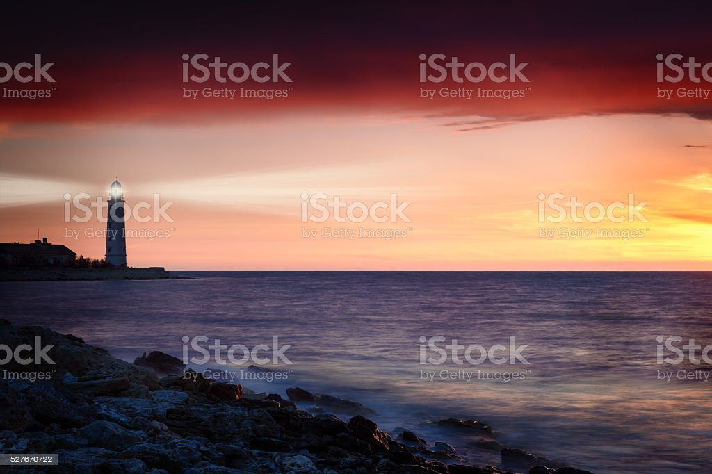 Lighthouse on the coast stock photo