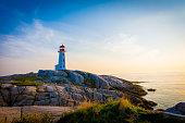 Lighthouse on the coastline.