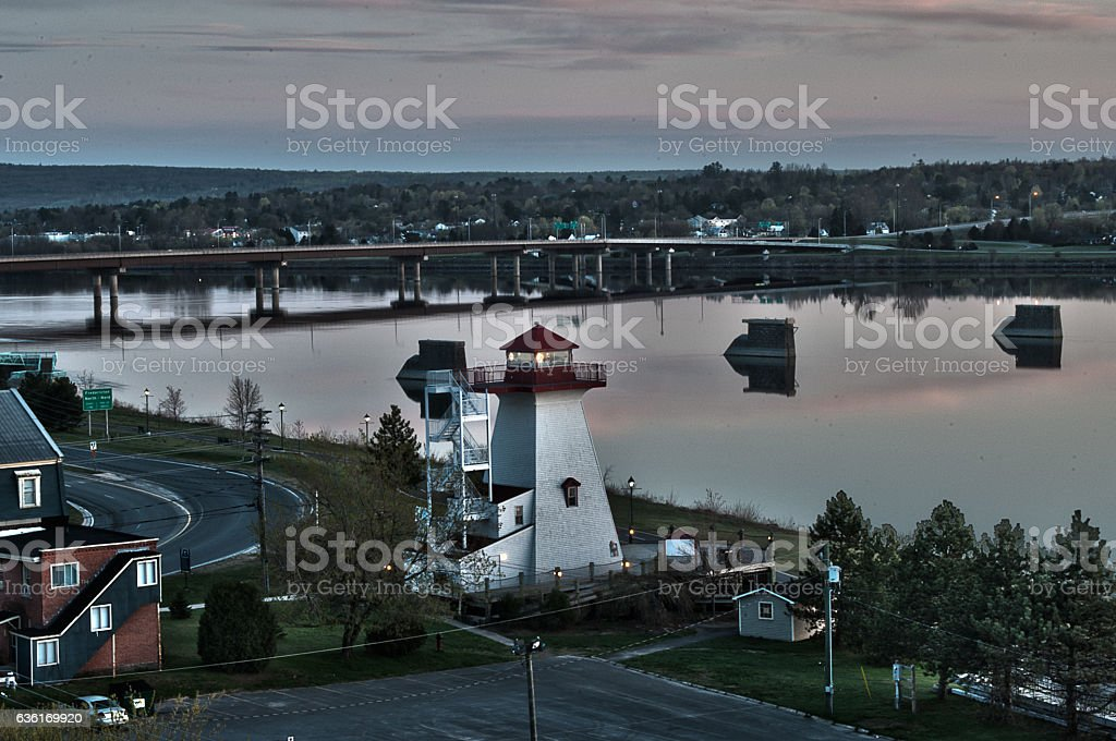 Lighthouse on the river stock photo