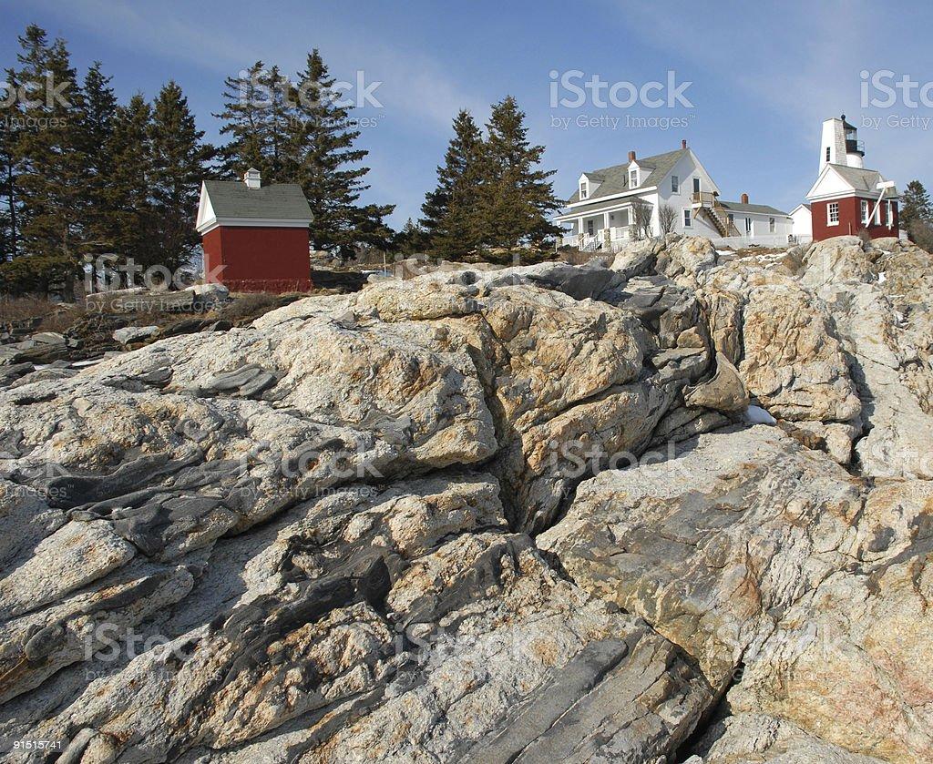 Lighthouse on the rocks stock photo